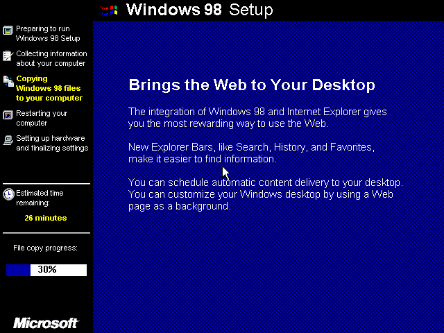 Win98 Installation Details at ][Cyber Pillar][