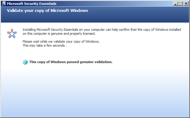 Installing Microsoft Security Essentials: Protection